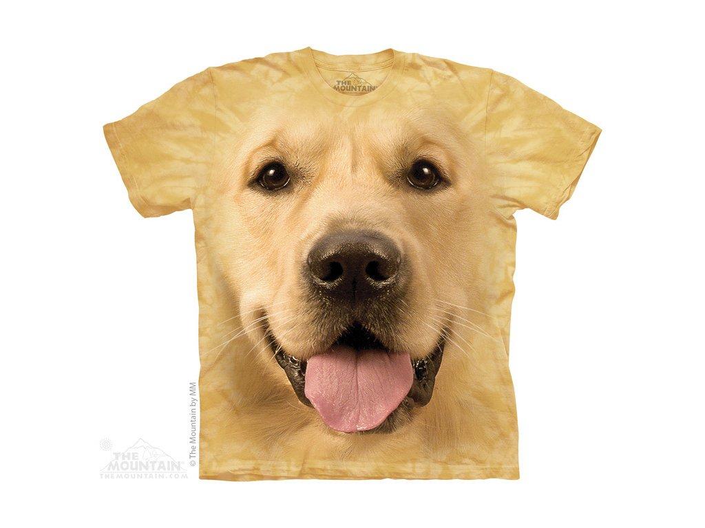 daff25d710b Dětské bavlněné tričko s batikovaným 3D potiskem psa zlatého retrívra