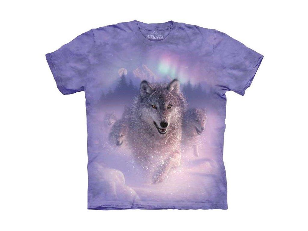 b0b8d378219 Dětské bavlněné tričko s batikovaným potiskem vlka a polární záře