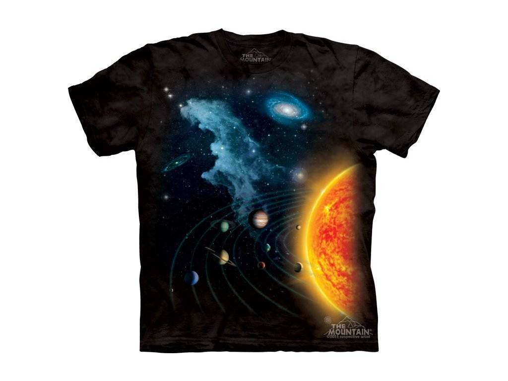 97775ff7ff1 Dětské bavlněné tričko s batikovaným potiskem slunce a planet