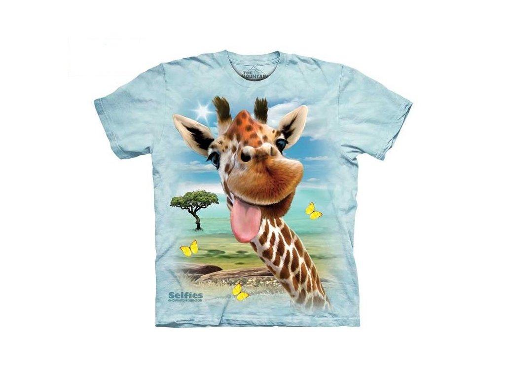 3b865a2211bd Dětské bavlněné tričko s batikovaným potiskem vtipné selfie žirafy