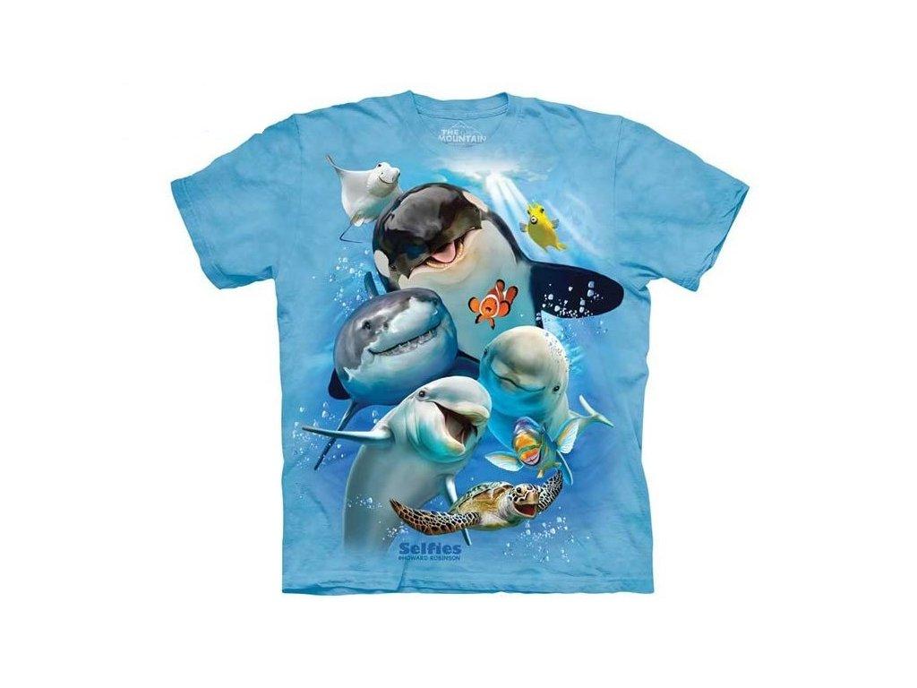 1ff50090867d Dětské bavlněné tričko s batikovaným potiskem vtipné selfie zvířátek ...