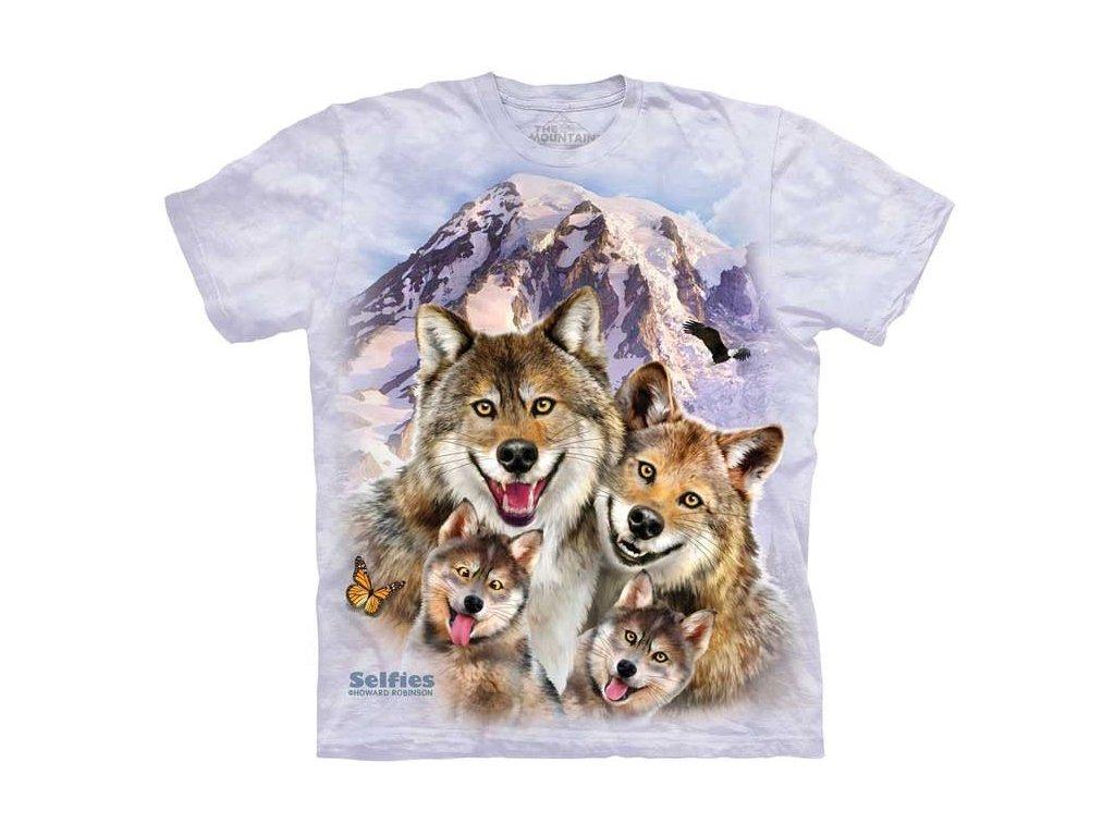 fc797b341b9 Dětské bavlněné tričko s batikovaným potiskem vtipné selfie vlků