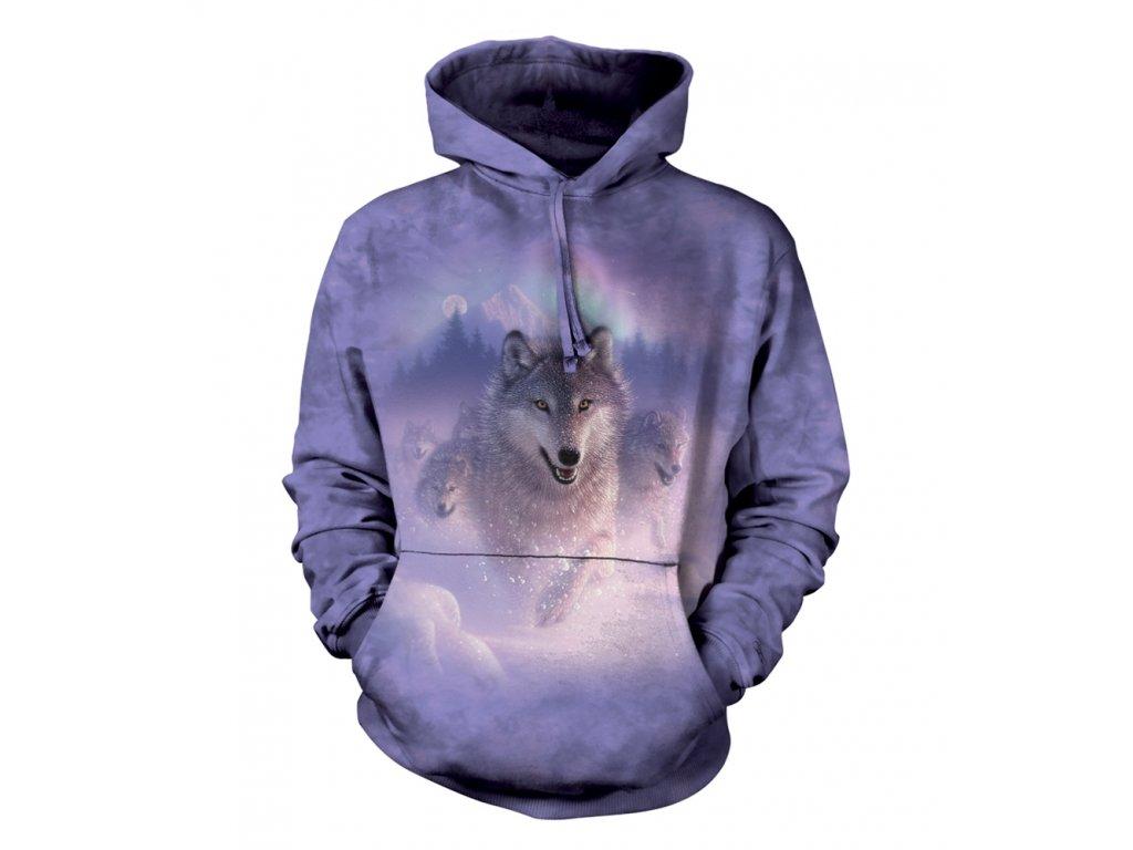 75532774ff6 Batikovaná mikina s kapucí the Mountain s potiskem vlka a polární záře