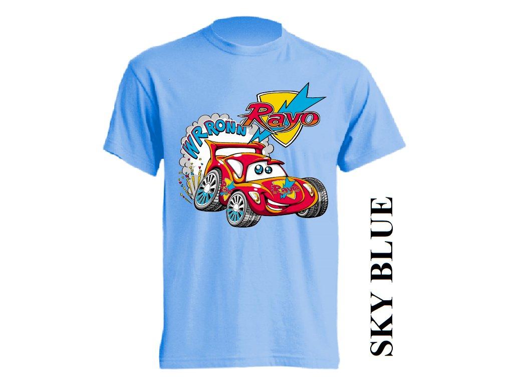 Levné bavlněné dětské tričko světle modré s vtipným potiskem autíčka ... 7d15ba66ce