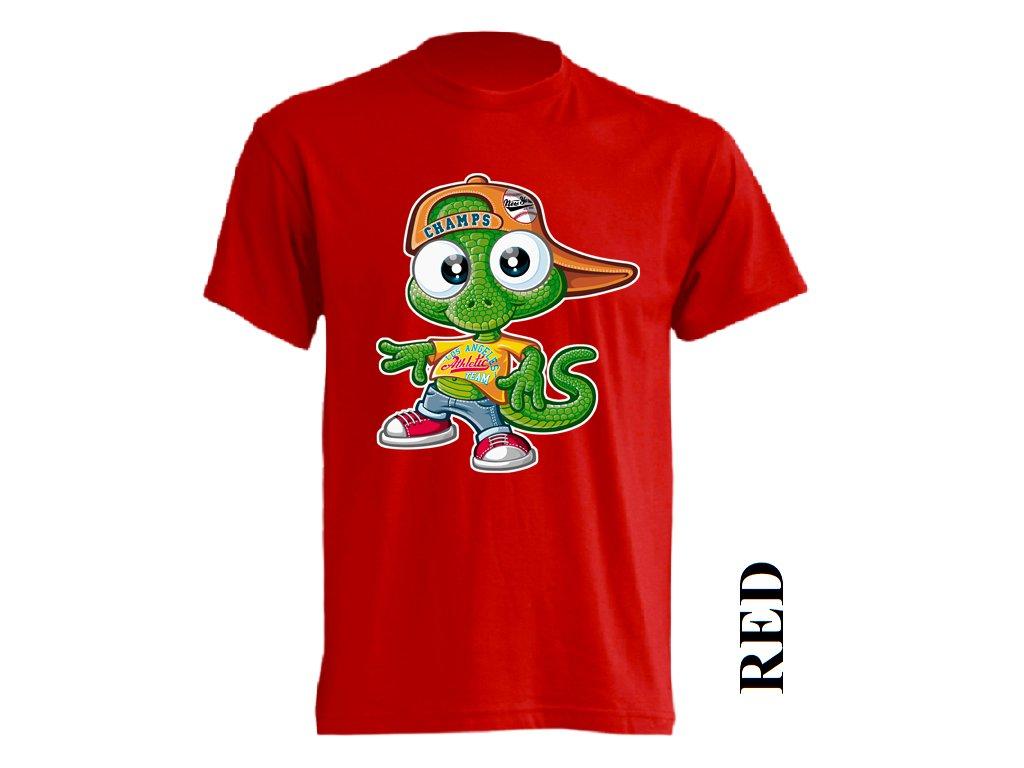 Levné bavlněné dětské tričko červené s vtipným potiskem ještěřího ... cb22e039b1