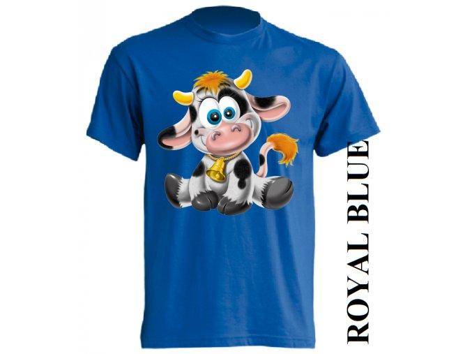 Levné dětské tričko s kravičkou modré