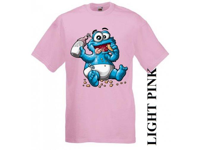 levné-dětské-tričko-cookie-monster-ruzove