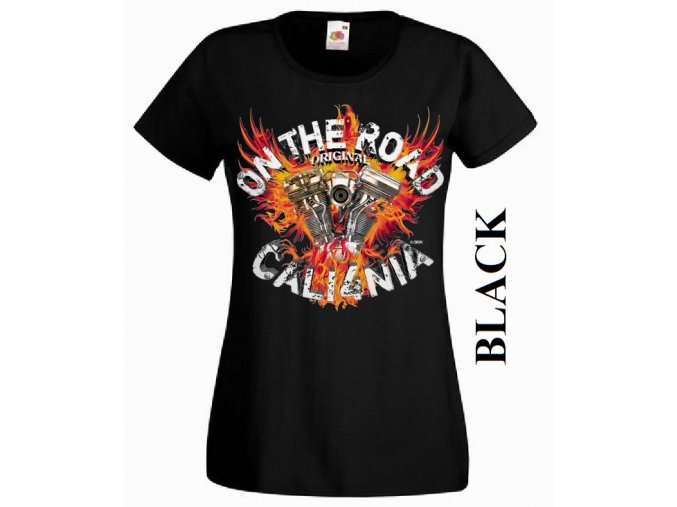 Černé dámské levné chopper tričko s Kalifornií