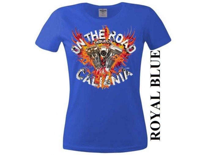 Modré dámské levné chopper tričko s Kalifornií