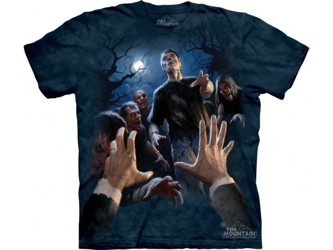 tričko-zombie-horor-batikované-potisk-mountain