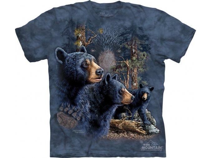 tričko-černí medvědi-třináct-batikované-potisk-mountain