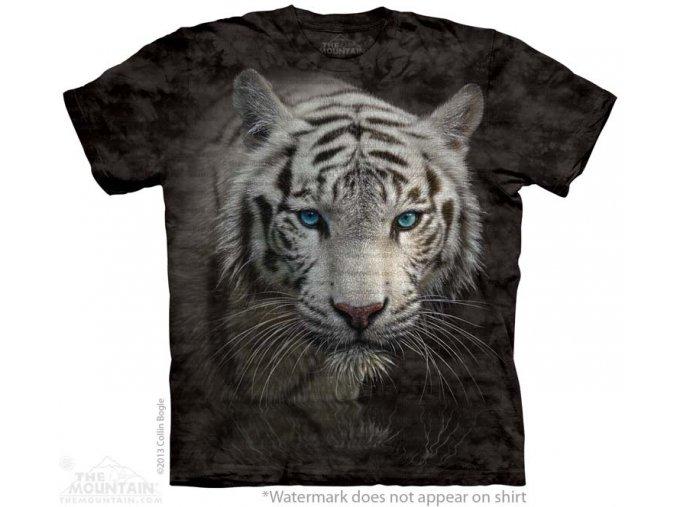 batikovane tricko motiv bily tygr