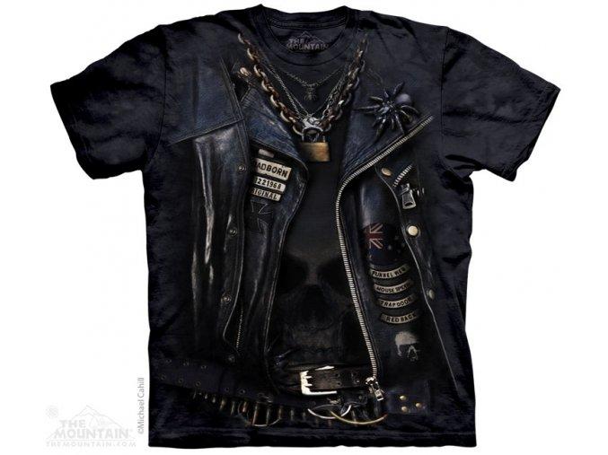 tričko, chopper, jezdec, potisk, batikované, mountain