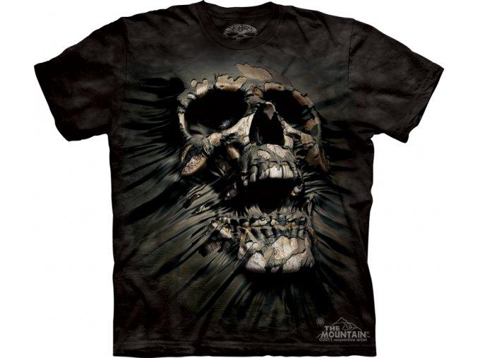 tričko-lebka-černé-batikované-potisk-mountain