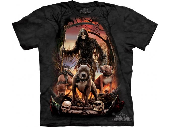 tričko-pes-smečka-batikované-potisk-smrt
