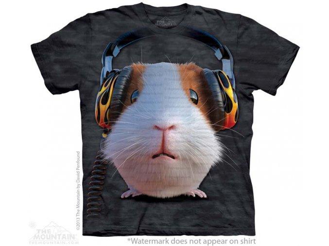 tričko, morče, sluchátka, potisk, mountain, dětské