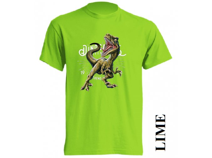 detske-tricko-dinosaurus-raptor-limetkove-zelene