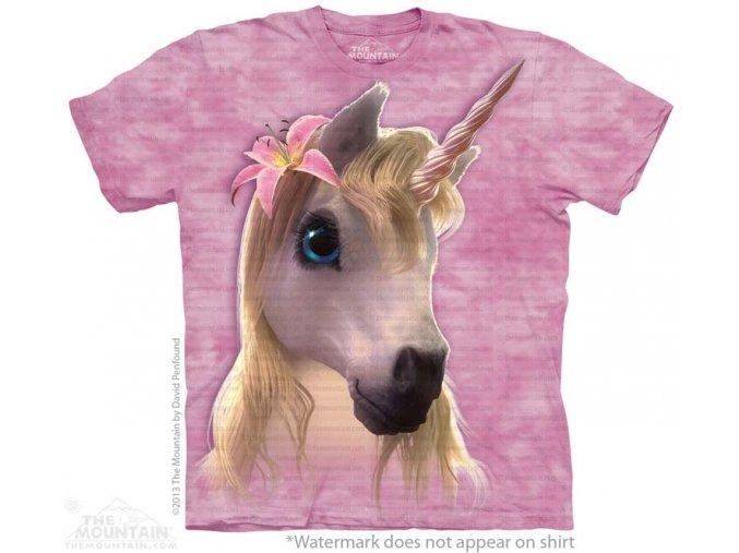 dětské tričko-jednorožec-růžové-potisk-mountain