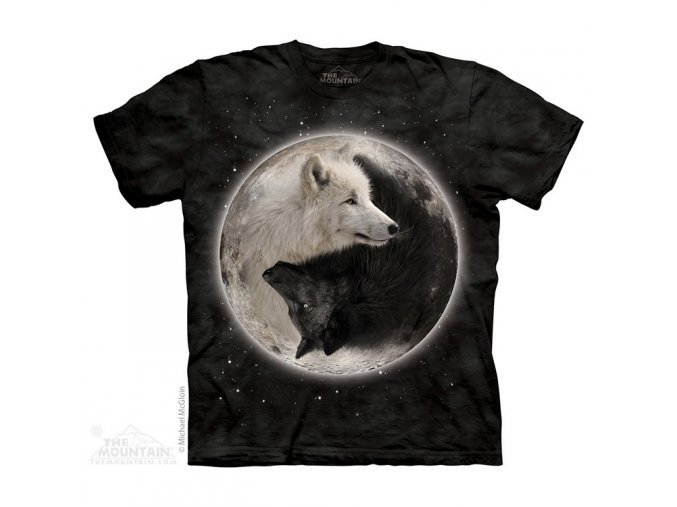 tričko, dětské, vlci, jin jang, mountain, potisk
