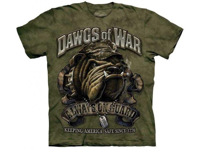 tričko-military-khaki-potisk-buldok-bavlněné