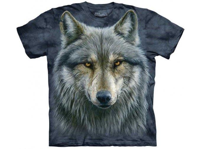 tričko-modrý vlk-hlava-batikované-potisk-mountain