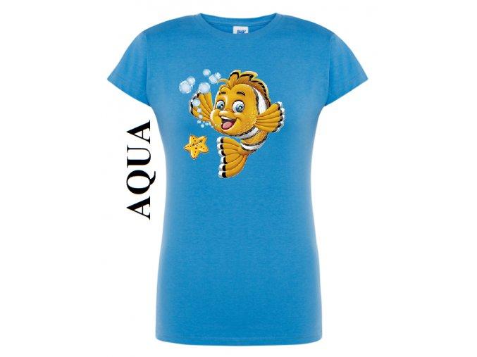 damske aqua modre tricko zlata rybka
