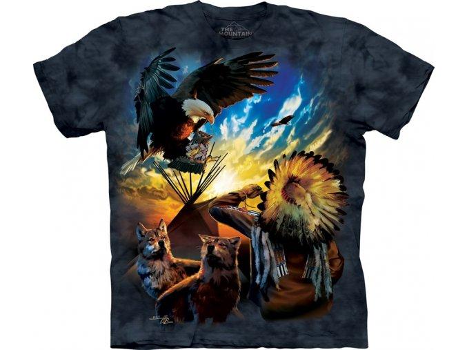 tričko, indián, tee pee, orel, potisk, batikované