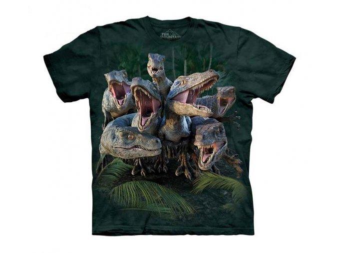 tričko, dinosaurus, raptor, potisk, mountain, dětské
