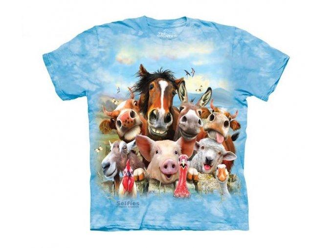 tričko, vtipné, selfie zvířátek z vesnice, potisk, mountain, dětské