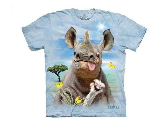 tričko, vtipné, selfie pštrosa a nosorožce, potisk, mountain, dětské
