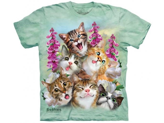 tričko, vtipné, selfie kočiček, potisk, mountain, dětské