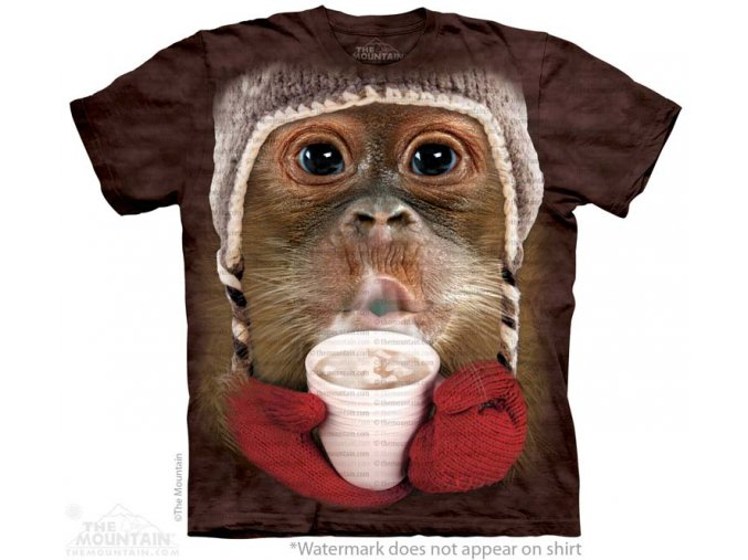 tričko, opička, batikované, potisk, mountain, dětské