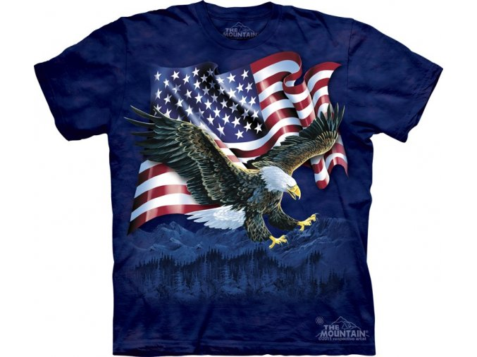 tričko-orel s drápy-americká vlajka-batikované-potisk-usa