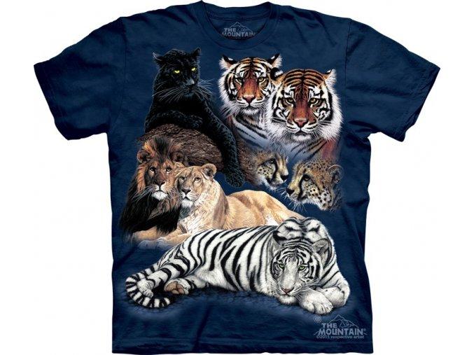 tričko, tygr, lev, batikované, potisk, bílý tygr