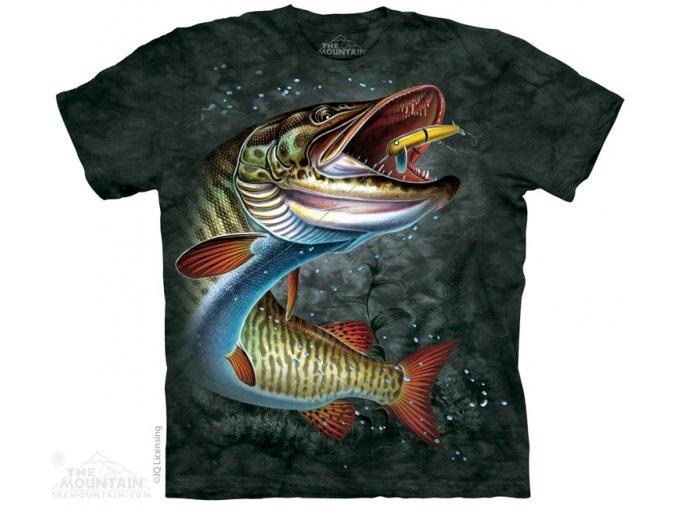 tričko, ryba, štika, batikované, potisk, rybářské