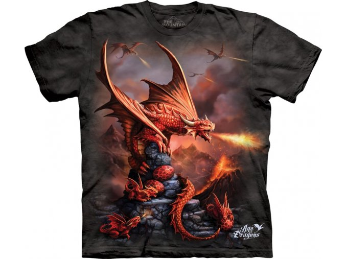 Tričko, draci, potisk, batikované, mountain