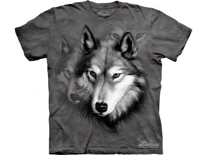 dětské tričko-vlk-portrét-potisk-mountain-bavlna