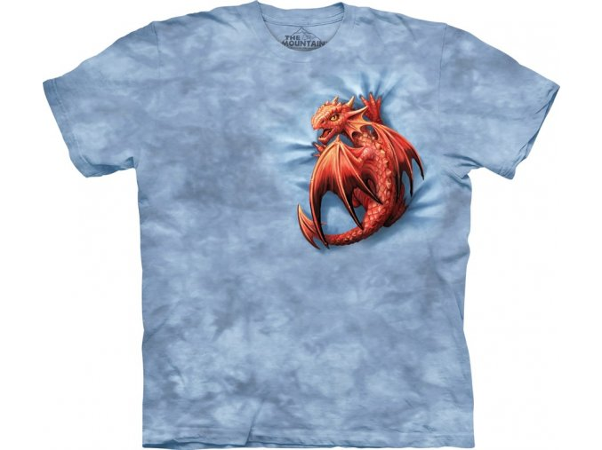 tričko, dráček, batikované, potisk, mountain, dětské