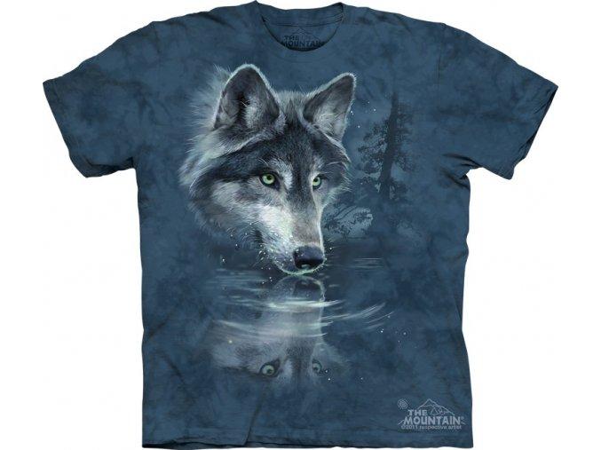 tričko, dětské, vlci, zrcadlo, mountain, potisk