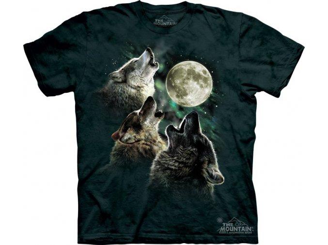 dětské tričko-tři vlci-mountain-potisk-bavlna-batika