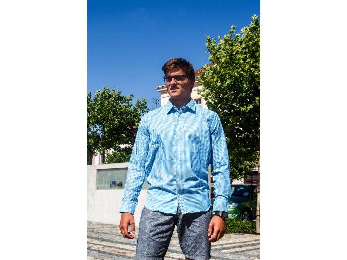 pánská, košile, modrobílá, levná