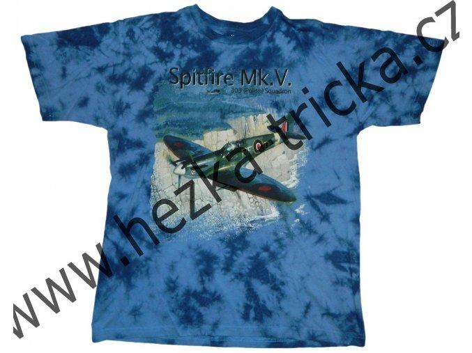 tričko, military, potisk, anglická stíhačka Spitfire, 303 letka, II světová válka