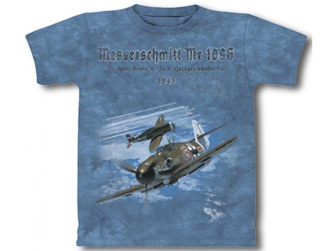 Military tričko s potiskem německého stíhacího letadla Messerschmitt ME109