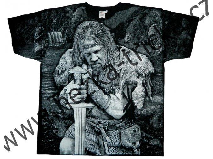 tričko, potisk, viking, meč a sekera, štít, drakar