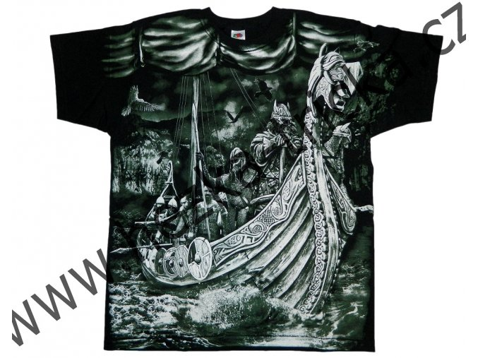 tričko, potisk, viking, drakar, meč, vrány