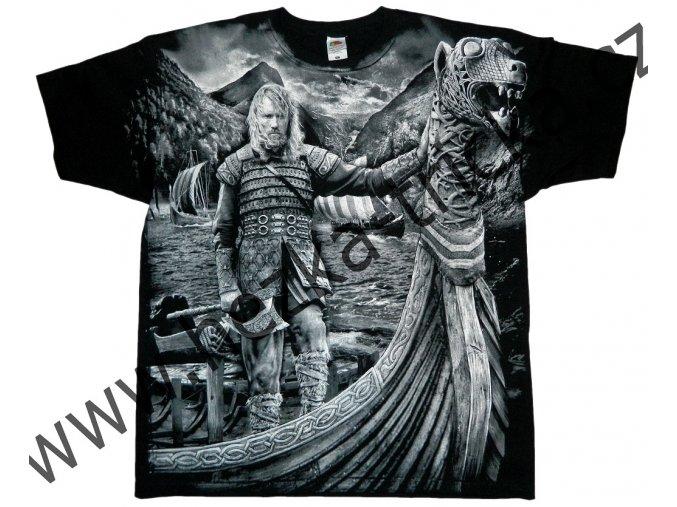 tričko, potisk, viking, sekera, štít, drakar