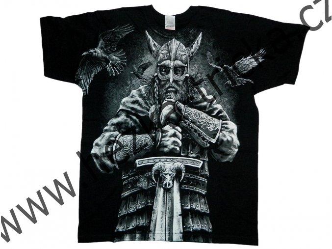 tričko, potisk, viking, helma, sekery, meč