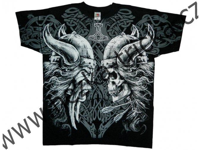 Tričko s celoplošným potiskem vikinga a zombie