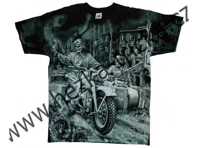 tričko, military, potisk, vtipné, kostlivec, motorka Zundapp