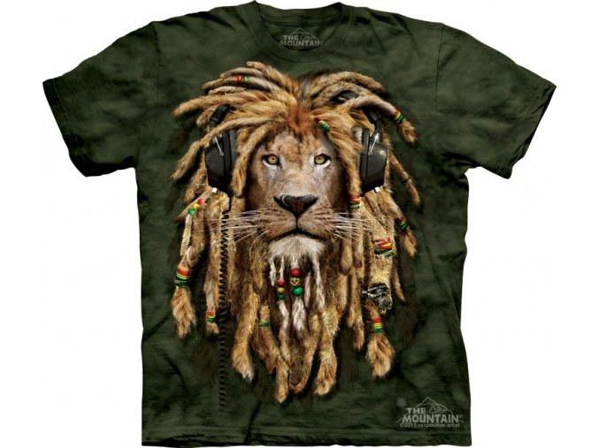 tričko, rasta lev, dredy, potisk, mountain, dětské
